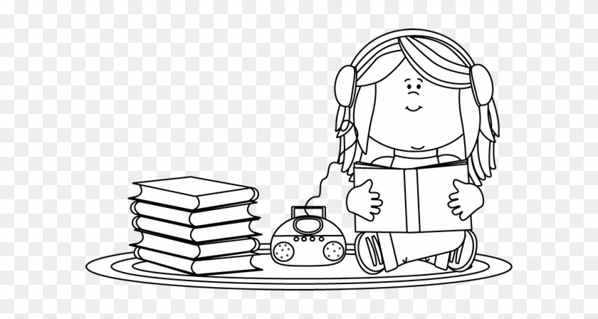 Black And White Girl Listening To A Book On A Cd Player - Girls Reading Clipart Black And White #4430
