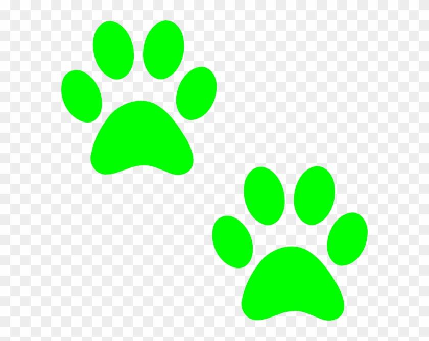 Bulldog Paw Print - Green Paw Print Clip Art #4473