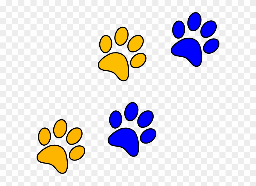 Panther Paw Print Clip Art Free Bluegold Paw Print - Blue And Gold Paw Prints #4521