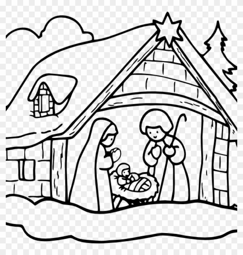 Nativity Clipart Black And White Manger House2 Clip - Navidad Para Pintar #4596