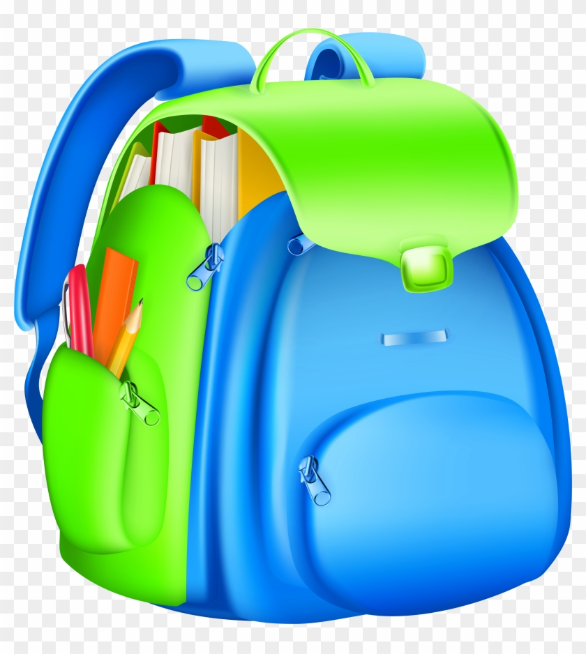 School Backpack Clipart - School Bag Vector Png #4748
