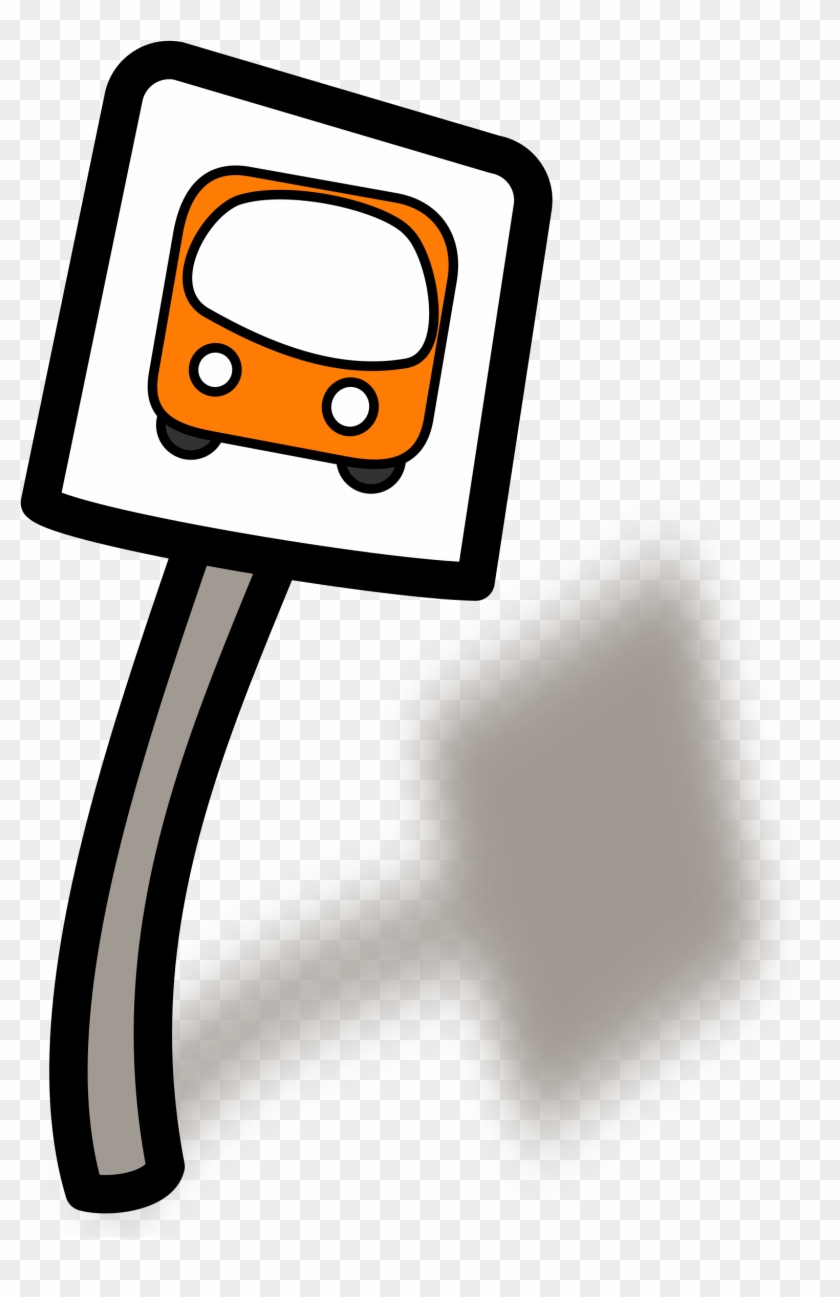 Clipart Of A Bus Stop Funny - Bus Stop Sign Clipart #4653