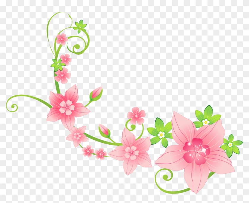 Pink Floral Decoration Png Clip-art Image - Flowers Clipart In Png #4650