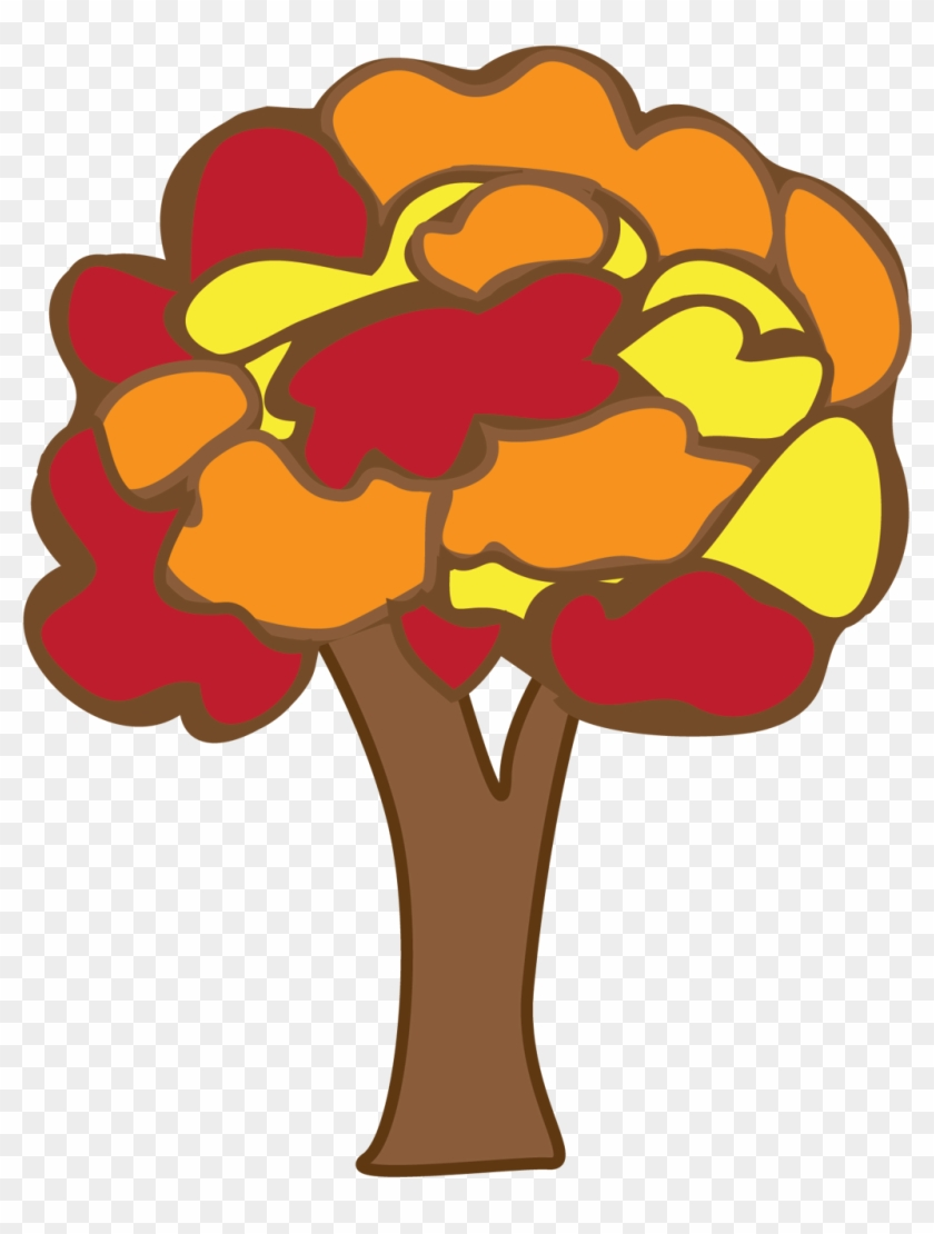 Vintage Clipart Of Block Colored Autumn Tree 201kb - Tree Doodle Png #4743
