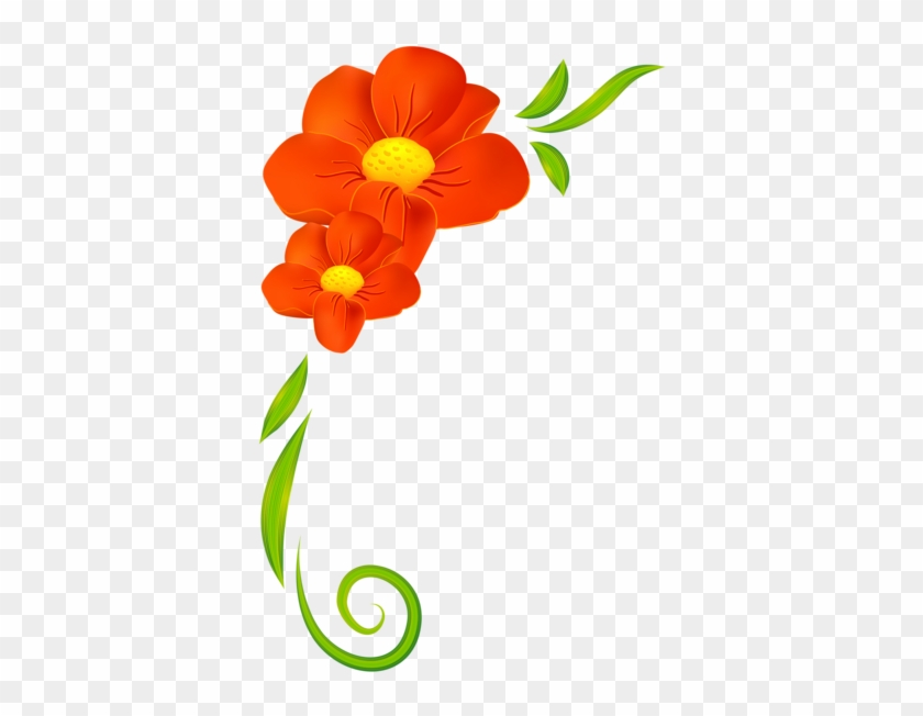 Orange Flower Decor Png Clipart - Flowers Border Clipart Png #4752