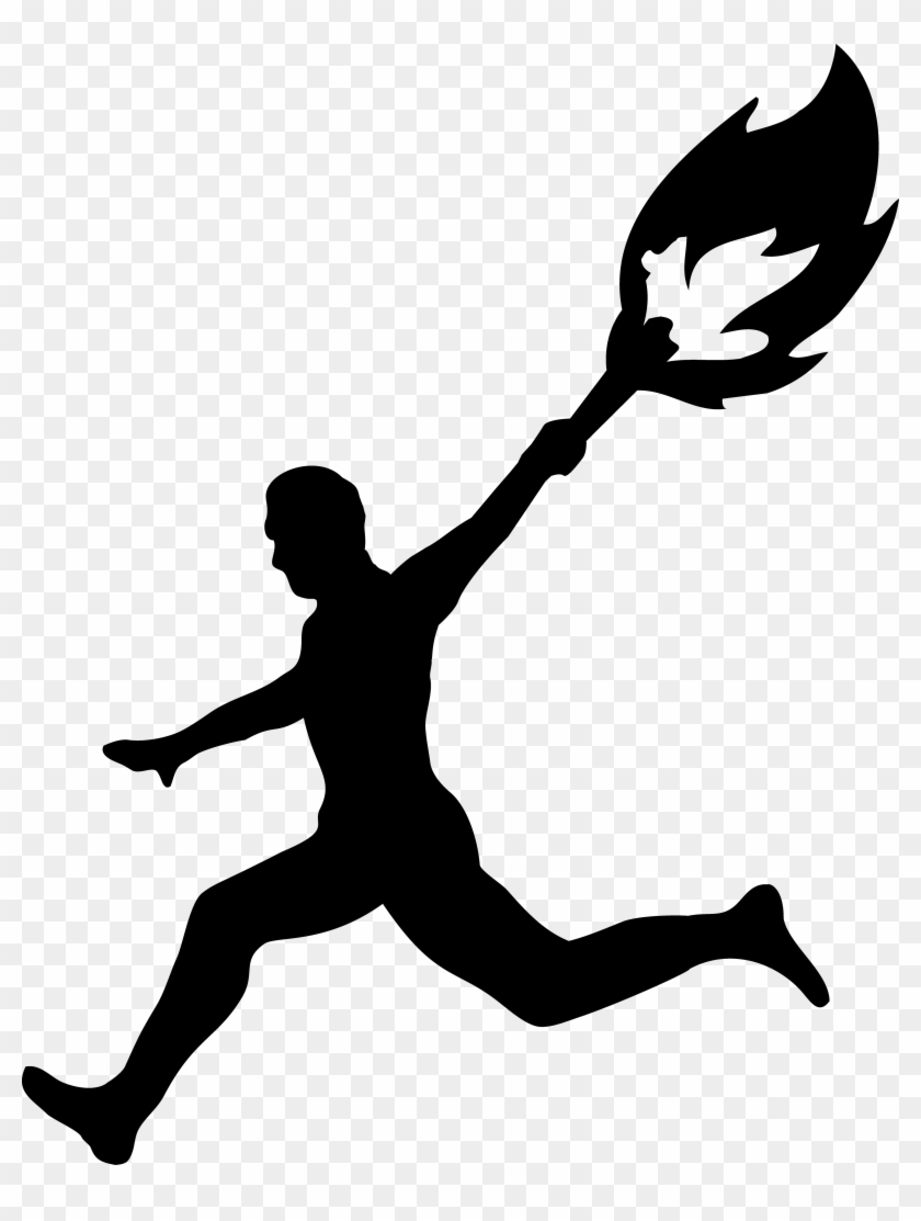 Free Person Running Clipart Best Activities - Olympic Torch Black And White #4818