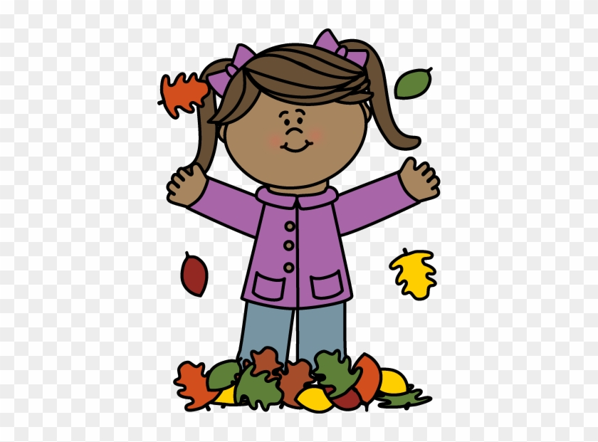 Girl Playing In Leaves Clip Art - Pronoun Flashcards #4911