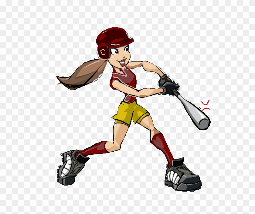 Cy Woods Athletic Booster Club - Girl Softball Player Cartoon #4914