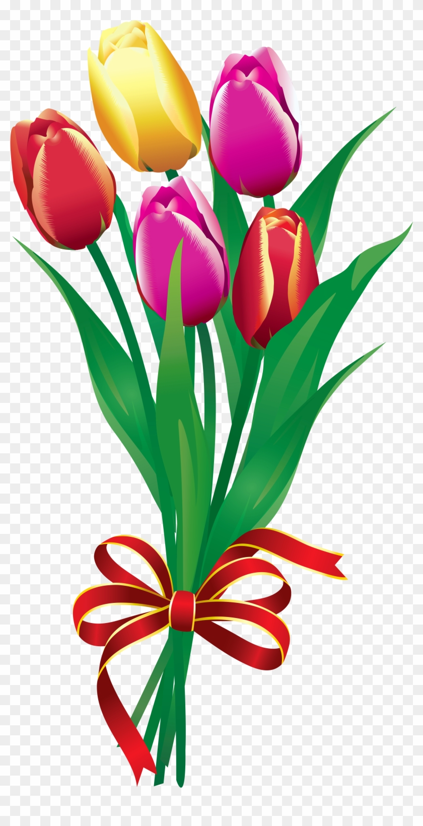 Tulip Bouquet Clipart - Flower Bouquet Clipart Png - Free ...
