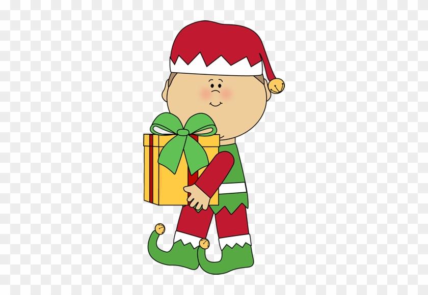 Christmas Elf Carrying A Christmas Gift - Christmas Day #5428