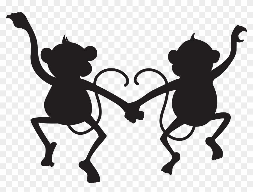 Cute Monkeys Silhouette Png Transparent Clip Art Imageu200b - Monkey Silhouette Clip Art #5497