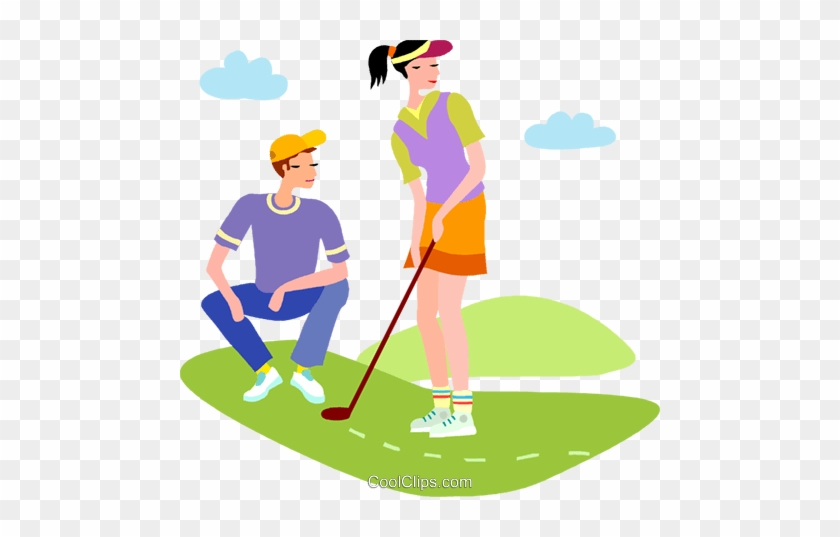 Golf Vector Clipart Of A Couple Playing Golf - Golf Vector Clipart Of A Couple Playing Golf #594