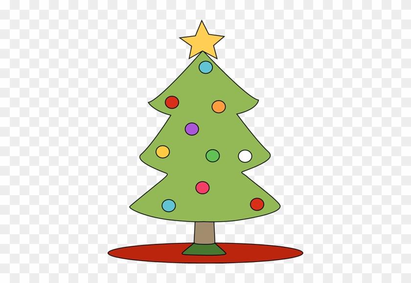 Christmas Tree On Red Tree Skirt - Christmas Cat Clip Art #5549