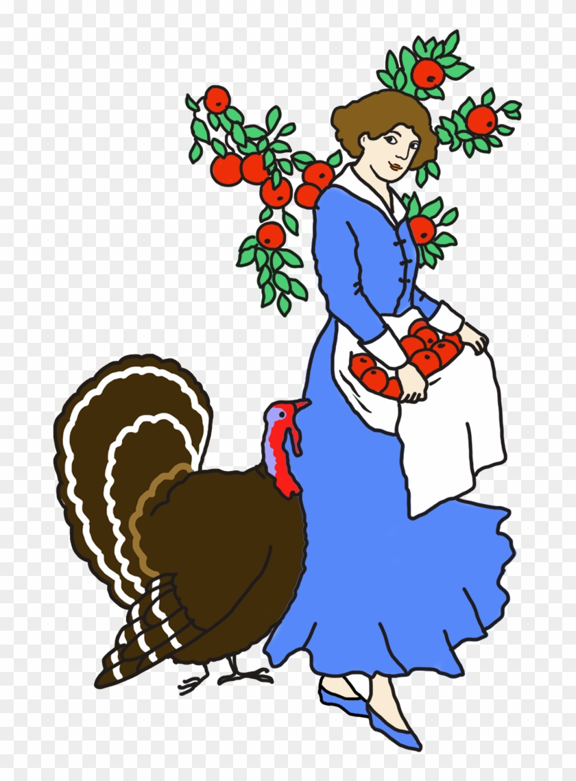 Woman With Apples And Turkey - Cartoon #5569