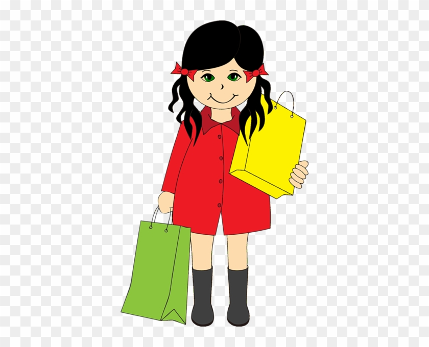 Clipart Of Girl Shopping With Bags - Girl Go Shopping Clipart #5570