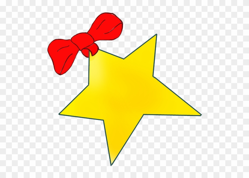 Golden Christmas Star With Red Bow - Christmas Star Clip Art #5615