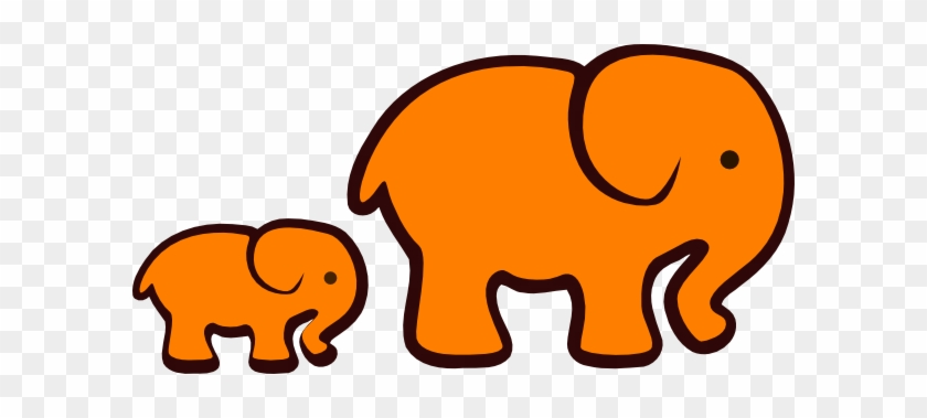 Orange Elephant Mom & Baby Clip Art - Elephant Clip Art #5676