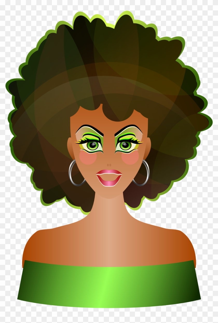 Natural - Lady With Afro Clip Art #5716