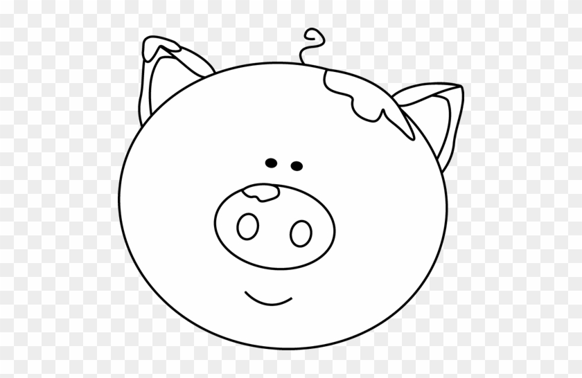 Black And White Pig Face With Mud - Pig Face Clipart Black And White #5782