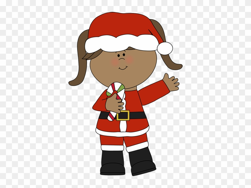 Girl Santa With A Candy Cane - Girl Santa Clip Art #5901