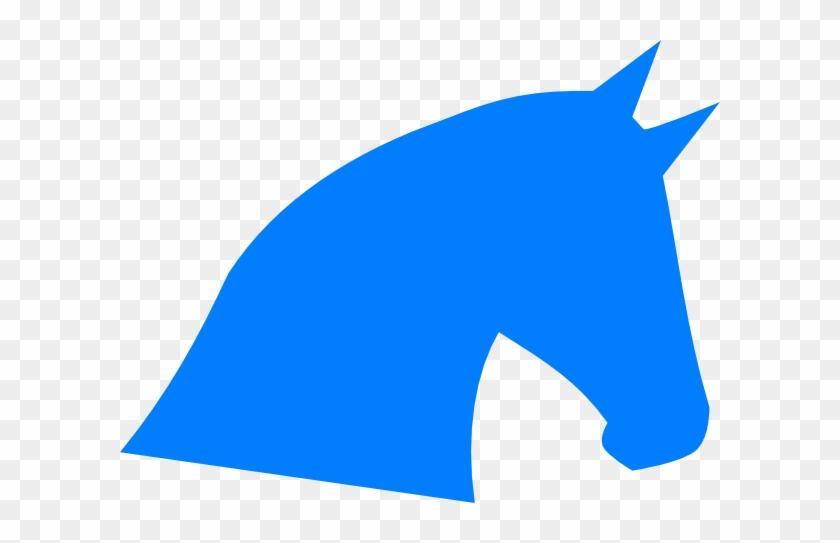Blue Horse Head Silhouette Clip Art - Horse Head Logo Blue #5950