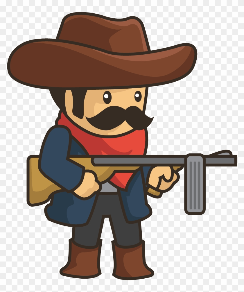 Cowboy Cartoon Gunfighter Sprite Clip Art - Cowboy Cartoon Gunfighter Sprite Clip Art #6058