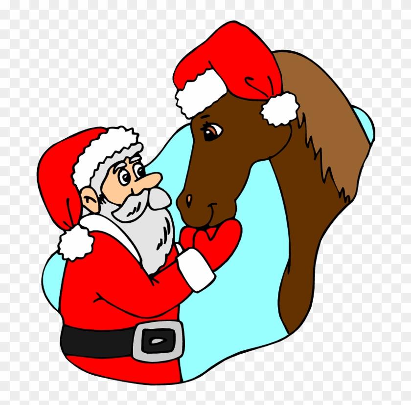 Santa Clipart Horse - Horse Christmas Clip Art #6211