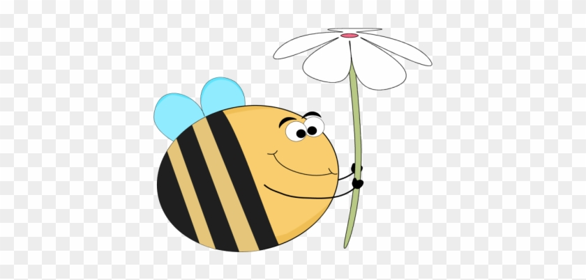Funny Bee And A White Flower - Funny Flowers Clip Art #6285