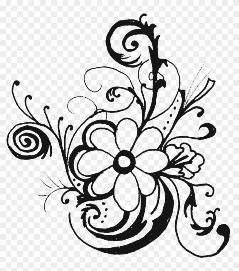 Flowers Clipart - Black And White Flower Clipart #6302