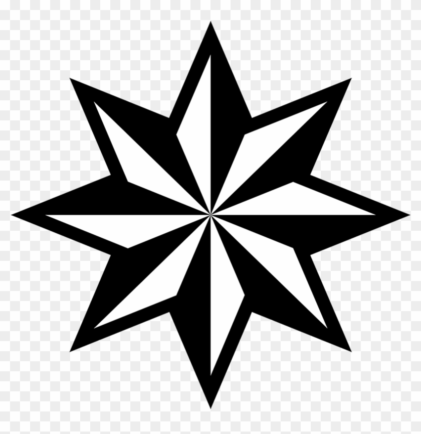 Black Star Clipart - 8 Pointed Star Vector #6395