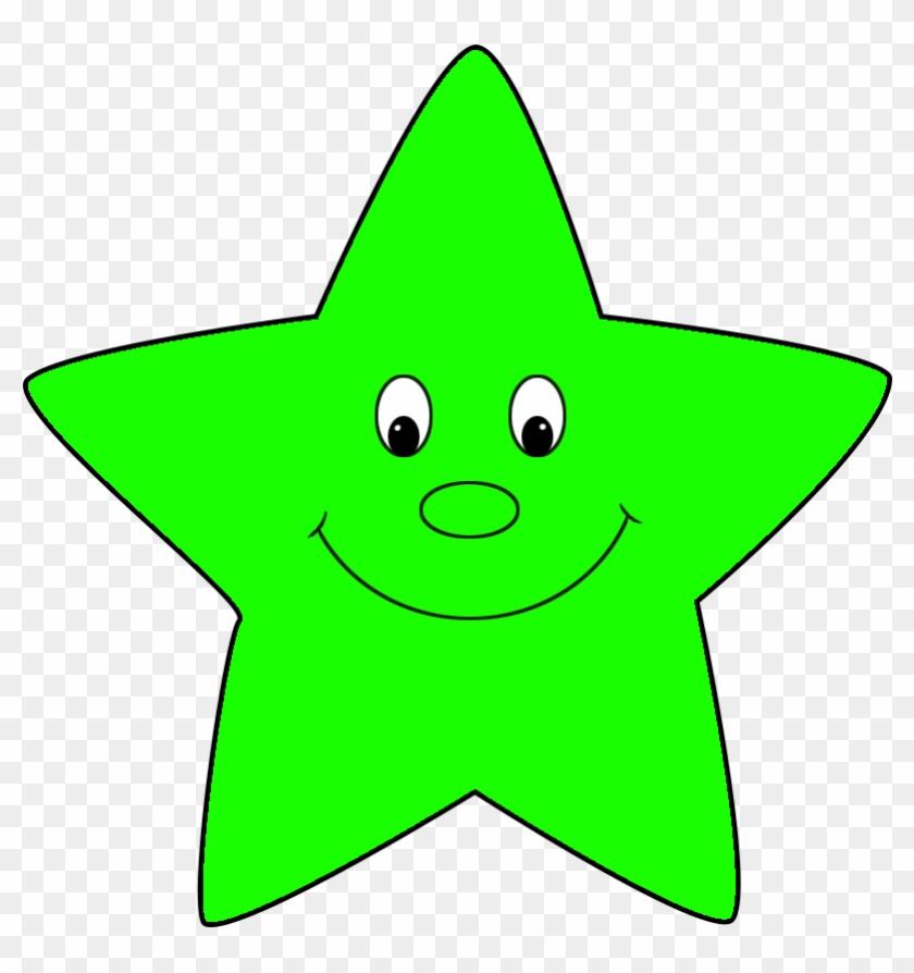 Star Clipart - Green Star Face #6425