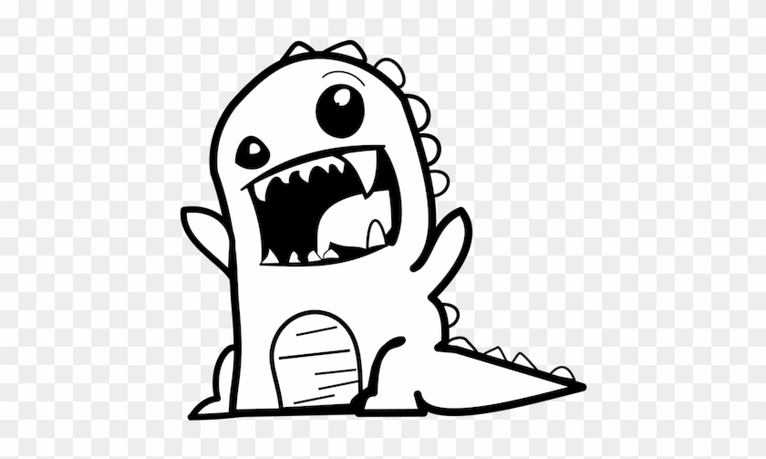 Dinosaur Cartoon Vector Public Domain Vectors - Cartoon Vector Black And White #6720