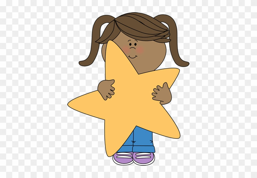 Little Girl Holding A Star - Star Student Clip Art #6741