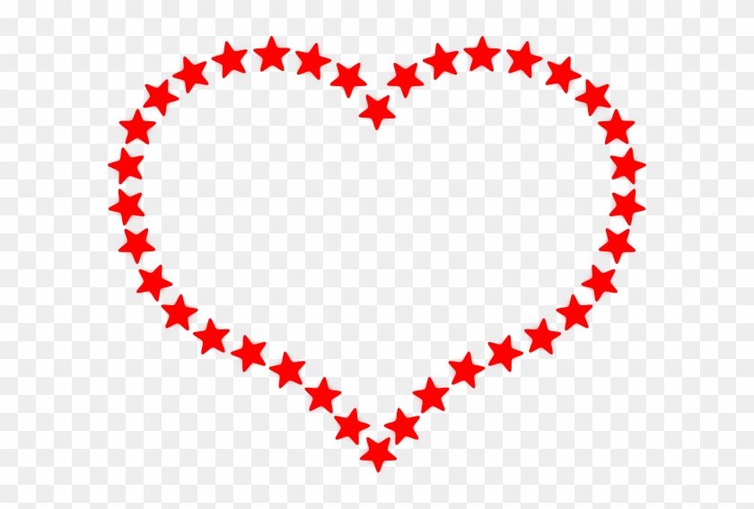 Red Star Outlined Heart Clip Art - Hearts And Stars Clipart #6744
