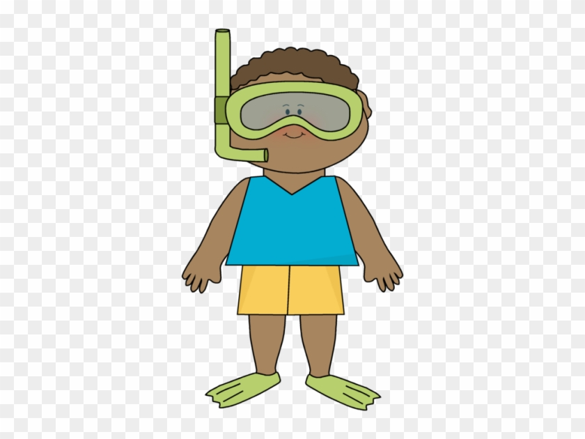 Boy Wearing Snorkle Gear - Kid Summer Clipart #6758