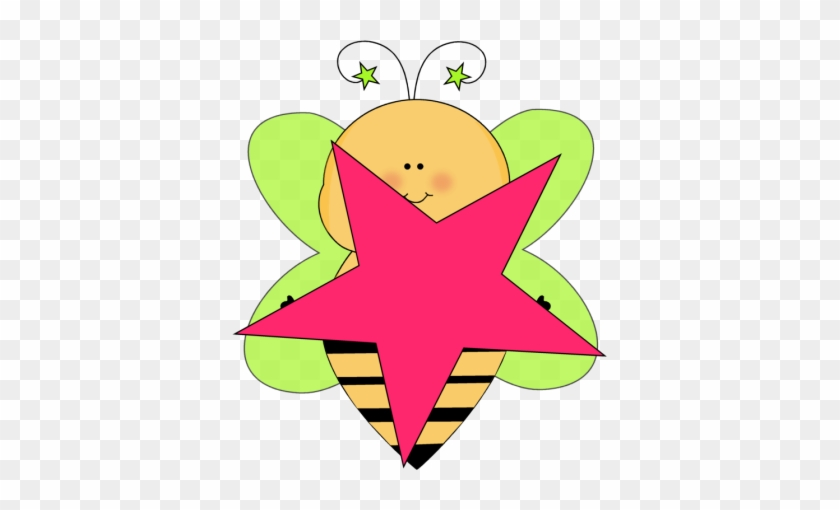 Green Star Bee With A Pink Star - Cute Flowers Clip Art #6785