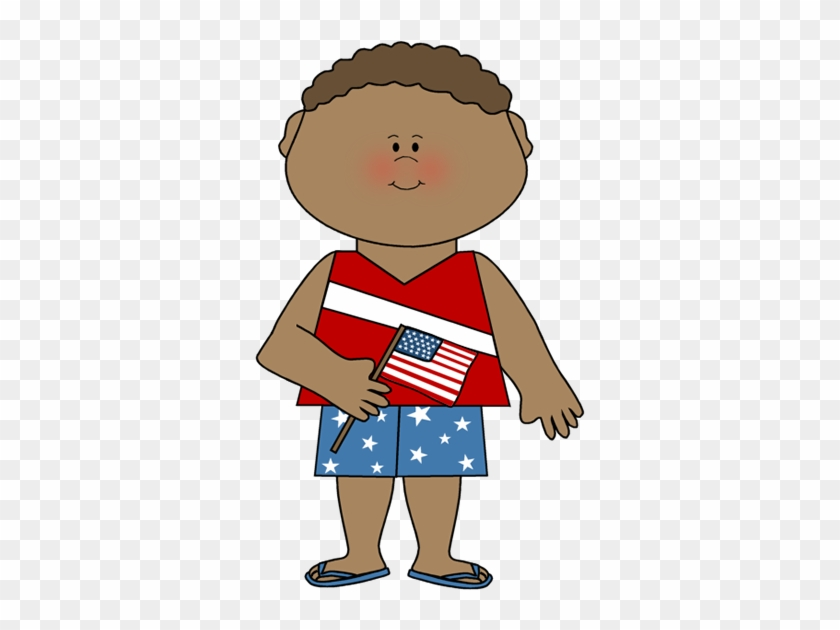 Boy Celebrating Fourth Of July - Fourth Of July Kids Clipart #6849