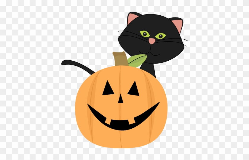 Black Cat Behind Jack O Lantern - Cute Halloween Cat Clipart #6889