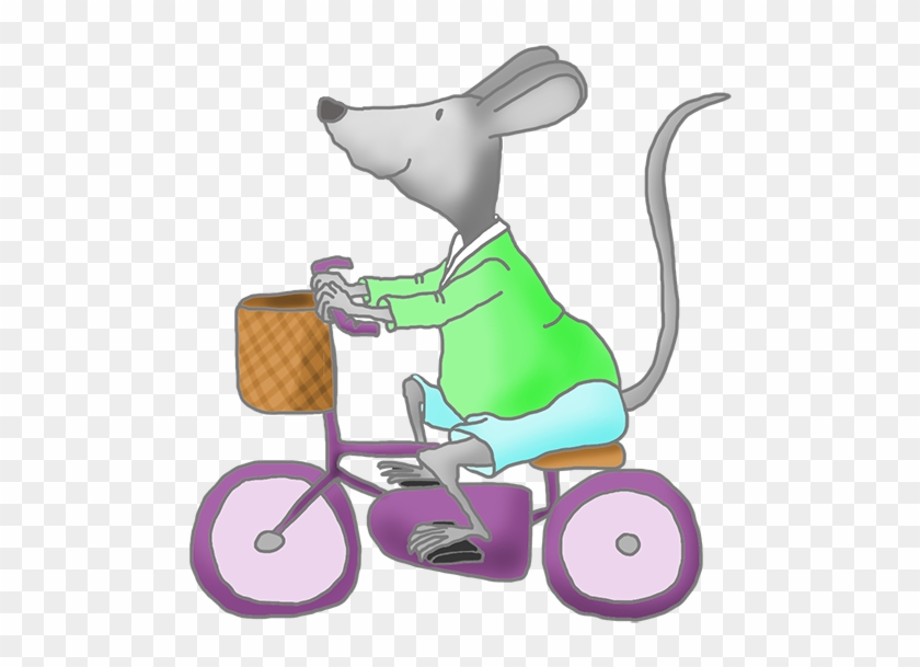 Mouse With Green Pram - Mouse On A Bike #6953
