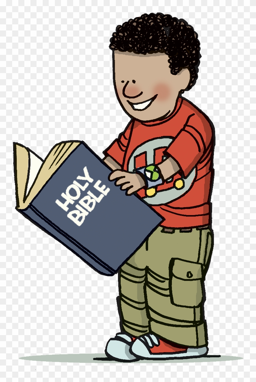 bible clip art for children - child reading bible clipart - free