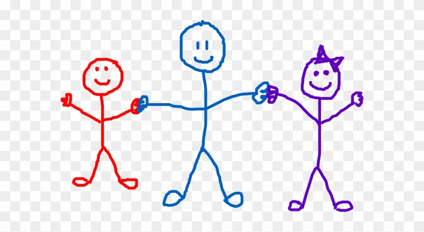 Children Clip Art - 3 Stick Figures Holding Hands #7001