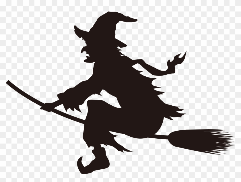 Halloween Witch On Broom Silhouette Png Clip Art Imageu200b - Witch On Broom Silhouette Png #7040