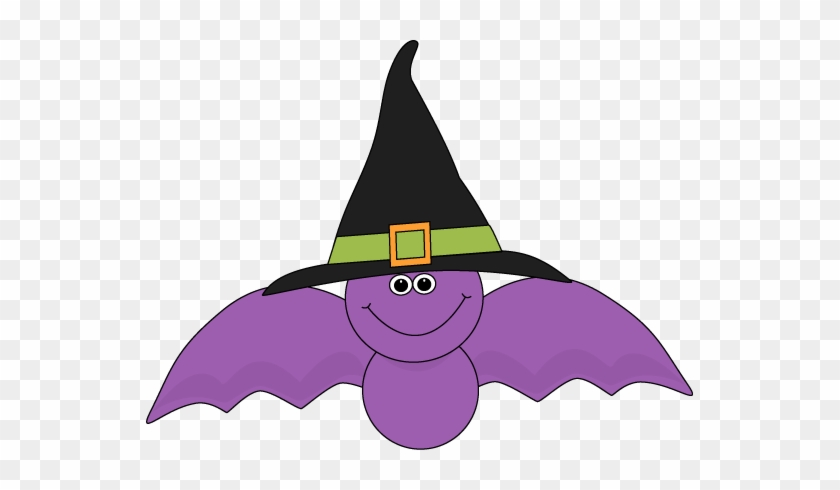 Cute Purple Bat Wearing A Black Witches Hat Clip Art - Bat With A Hat #7066