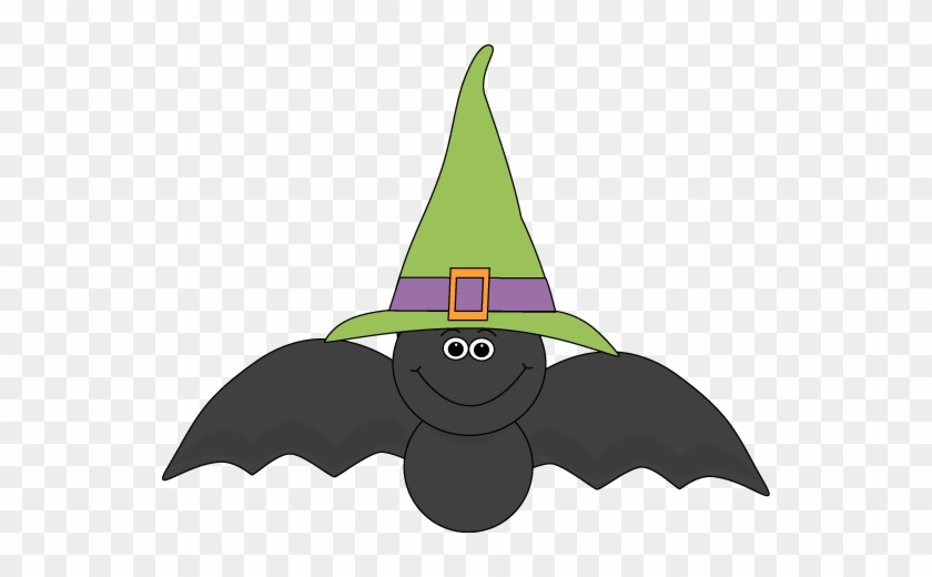 Cute Halloween Owl Witch Clip Art - Bat With A Hat #7072