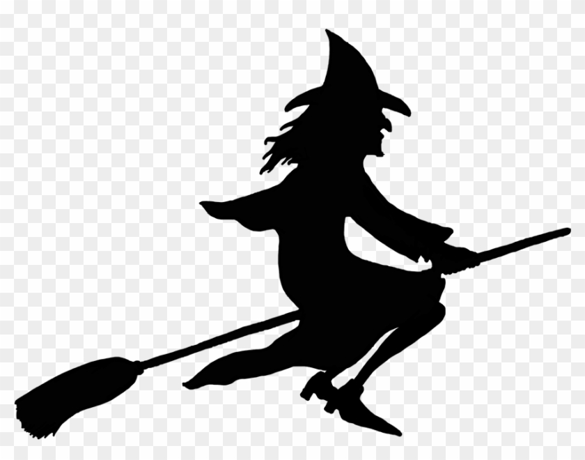 Halloween Witch On Broom Silhouette - Witch On Broomstick Silhouette #7083