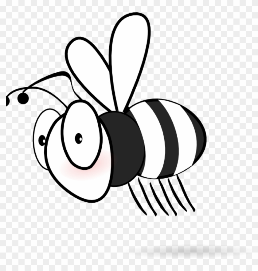 Bee Clipart Black And White Black And White Bee Clip - Bee White And Black #7087