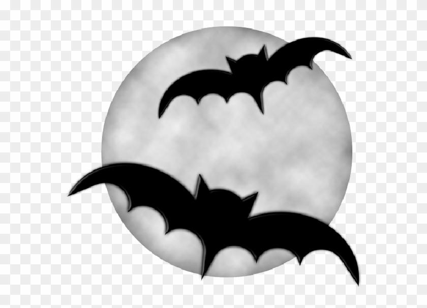 Moon With Bats Halloween Clipart - Halloween Moon Clipart #7111