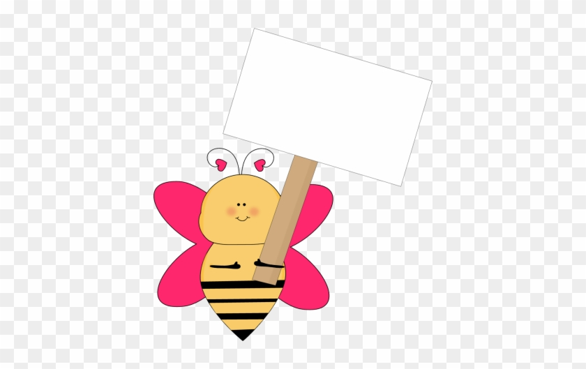 Heart Bee With A Blank Sign - Bee Holding Sign Clipart #7138