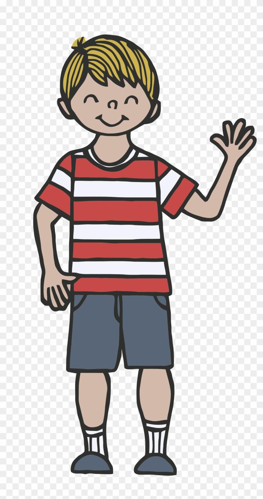Child Waving Goodbye Clipart - Tall Boy Clip Art #7152