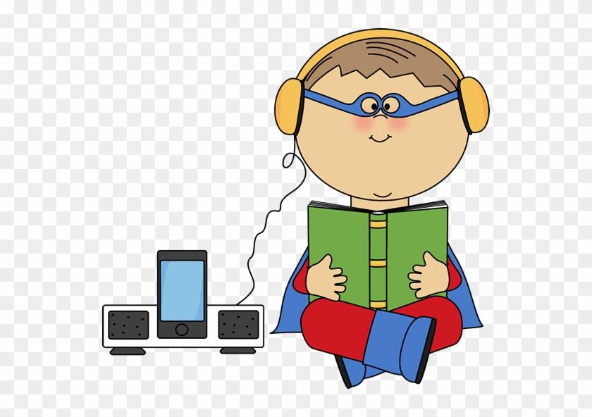 Boy Superhero Listening To A Book - Listening Center Clip Art #7202